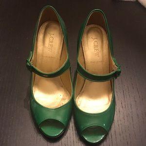 Jcrew Green Patent heels